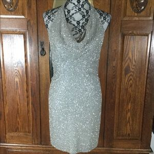Moda International Silver Hand Beaded Silk Dress